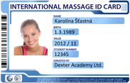 International Masseur license in the English language.